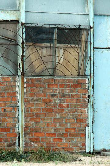 Finestra texture mattoni muro grigliato №13755