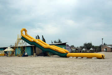 Inflatable slide on the beach №13007