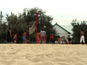 Menschen spielen am Strand №13570