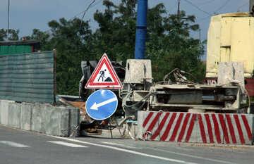 Segno deviazione stradale lavoro №13229