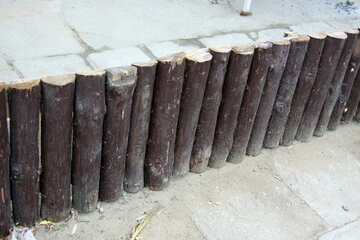 Decorative fence made of logs №13980