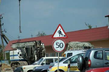 Segni di limite di velocità in casa e lavori stradali №13312
