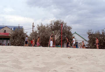 People play volleyball on the beach №13527