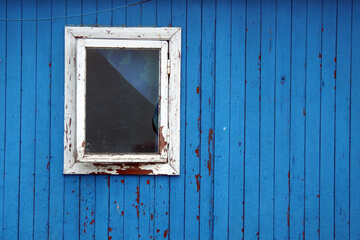 Window on the blue wooden wall texture №13797
