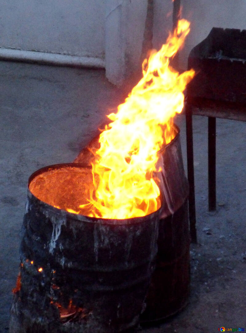 The fire is burning in barrel №13549
