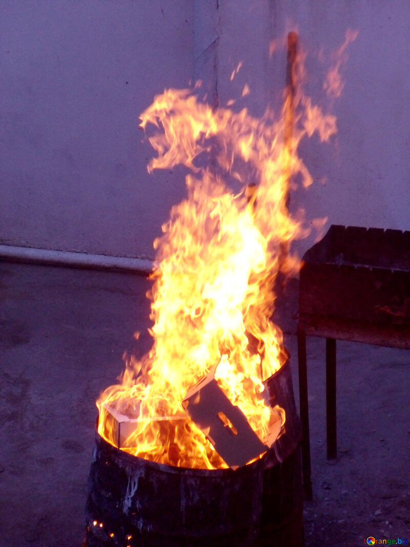Burning trash in barrel №13550