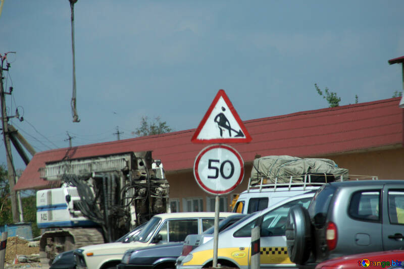 Homemade speed limit signs and road works №13312