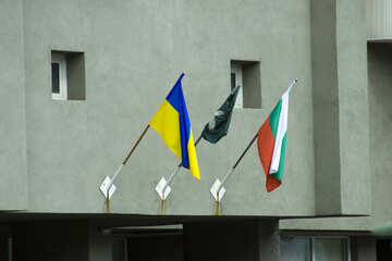 Different flags on the facade №14668