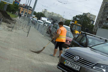 Janitor with broom №14745