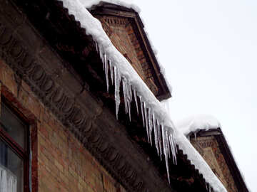 Icicles under the old roof №15575