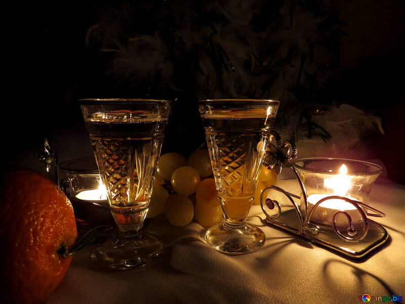 Romantic still life with wine and candles №15176