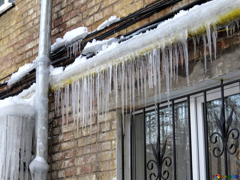 Icicles on the gas pipe №15744