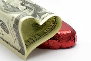 US-Dollar in Form von Herzen №16727