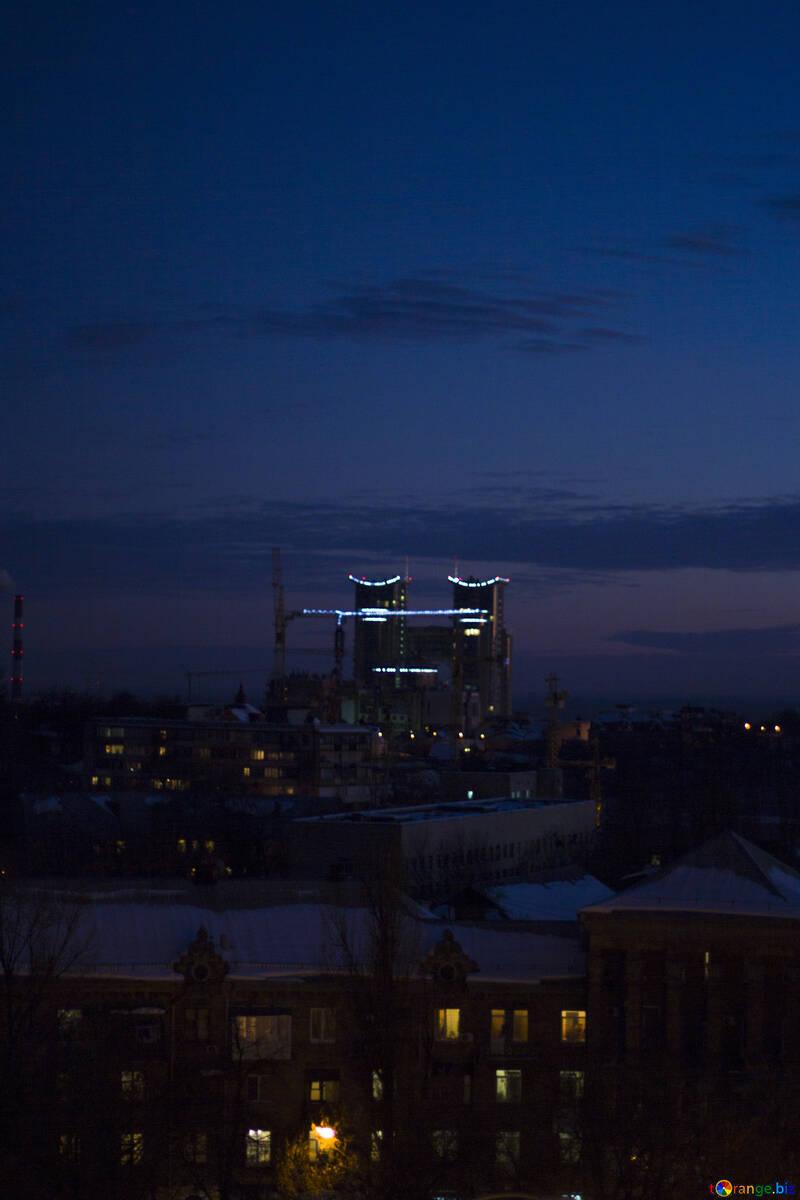 Winter city sunset №16054
