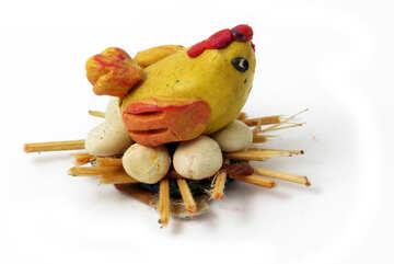 Hen sitting on eggs №17299
