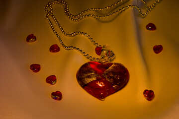 Red glass heart №17549