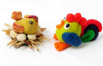 Курица и петух из пластилина №17301