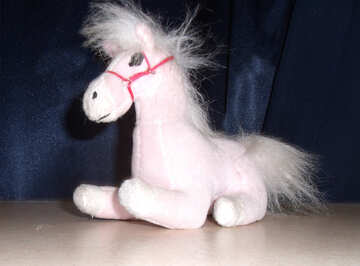 Toy horse is white and fluffy №17230