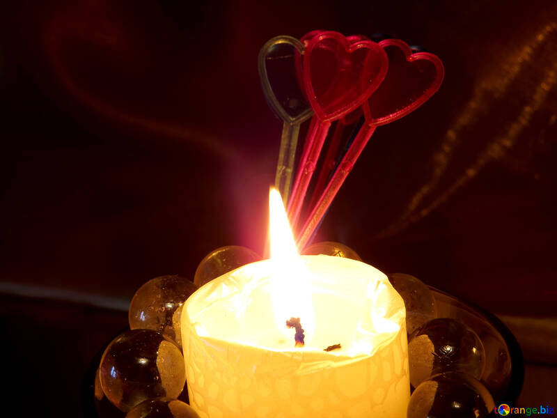 Candle and hearts №17490