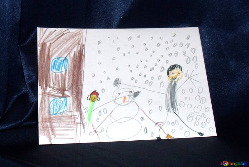 Child`s drawing of winter №17214