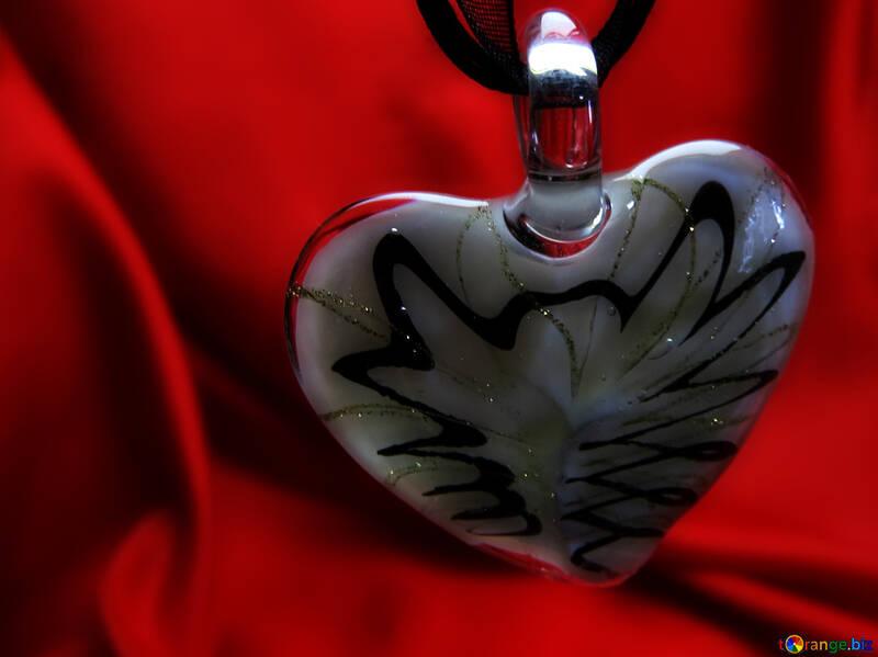 Glass heart on the desktop №17520
