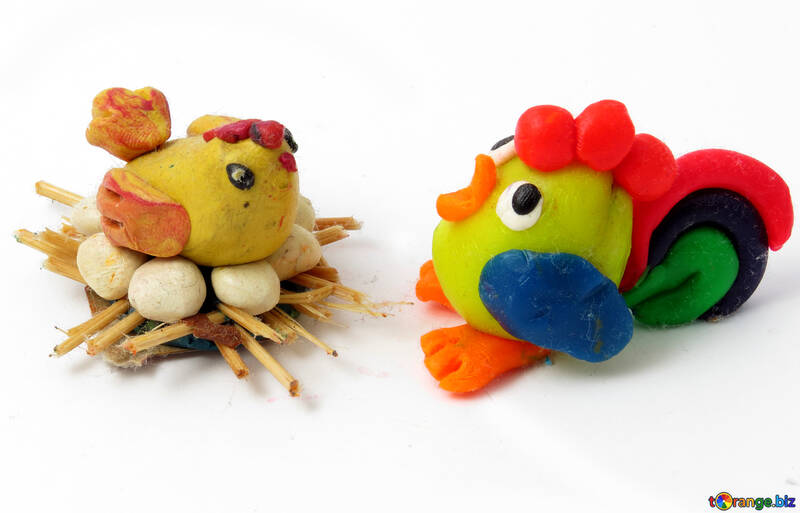 Hen and rooster plasticine №17301