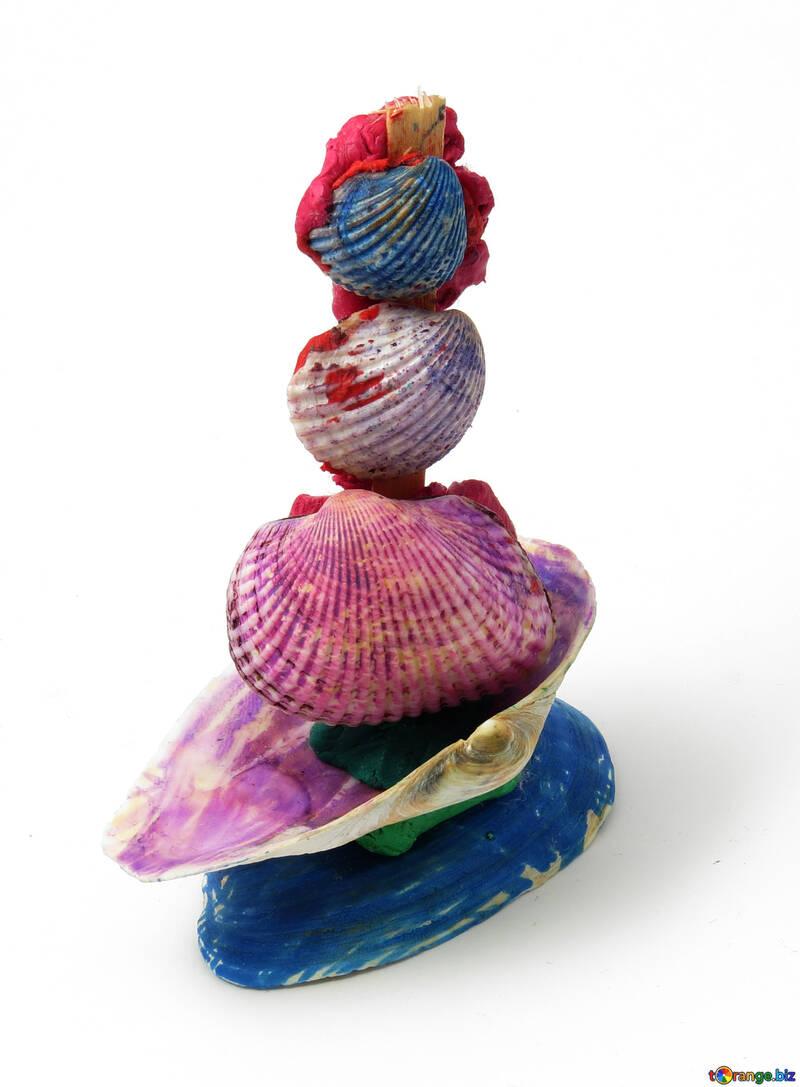 Artesanías de conchas velero pequeño de barro y conchas concha № 17323