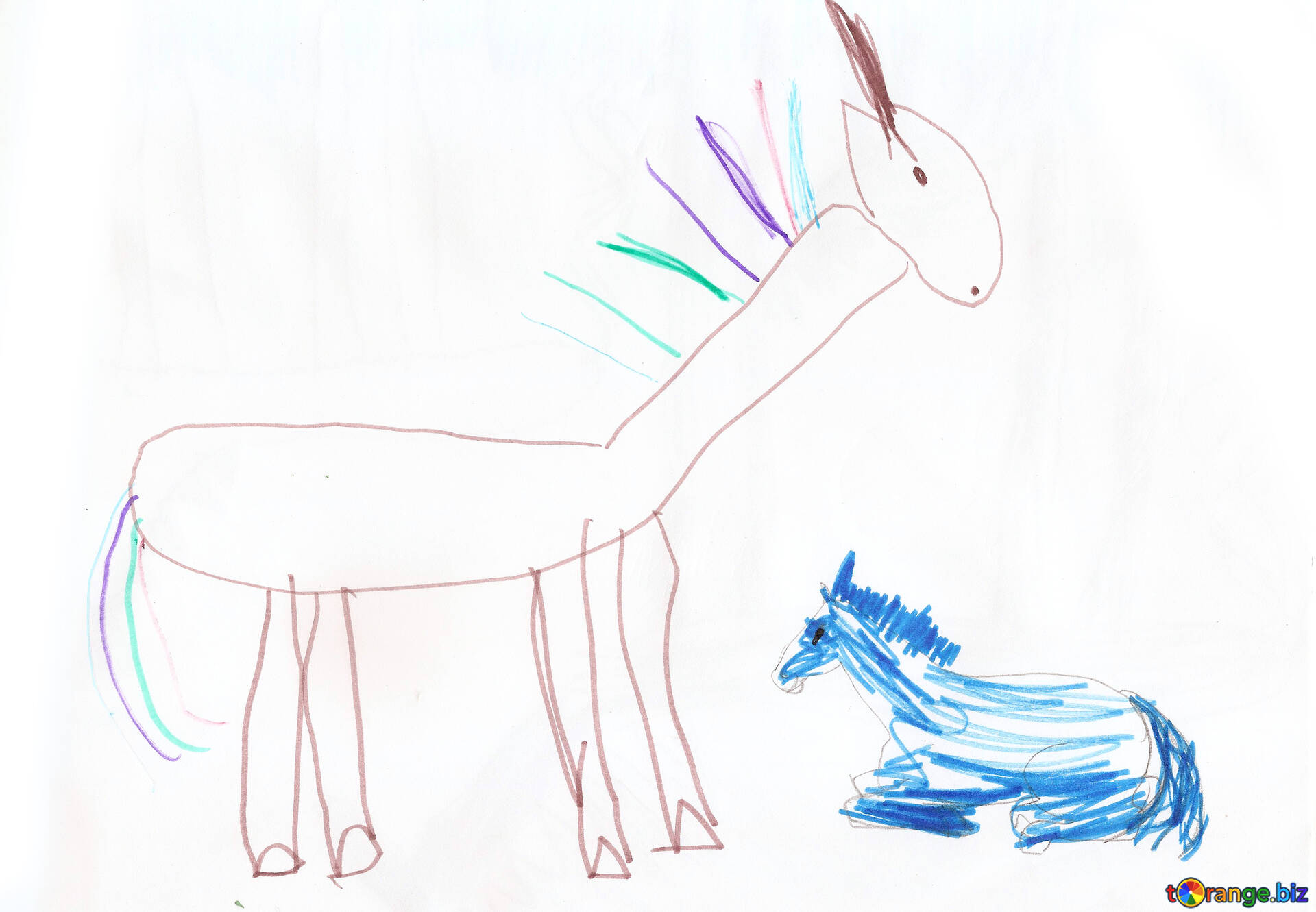 Children\'s drawing of a horse a horse with foal. children drawing ...