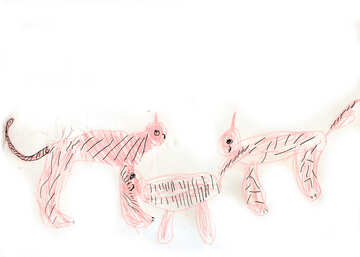 Family of tigers.  Children drawing. №18701