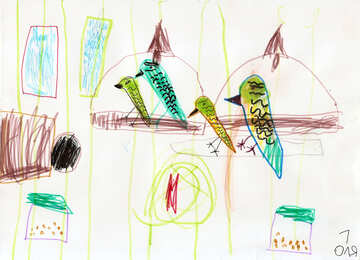 Parrot Cage.  Children drawing. №18652