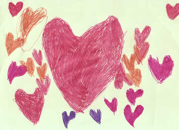 Colorful heart. Children drawing. №18641
