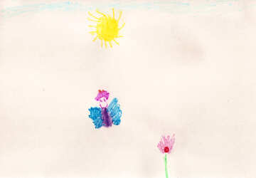 Butterfly on flower.  Children drawing. №18657