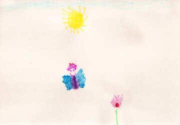 Schmetterling auf Blume. Kinder zeichnen. №18657