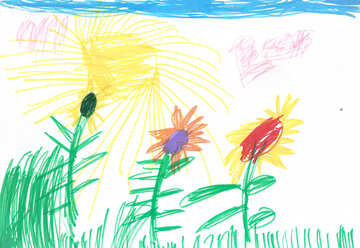 Sunflowers.  Children drawing. №18678