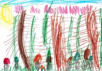 Pilz Wald.Kinderzeichnung. №18668