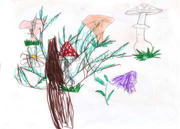 Pilz-Tree. Kinder zeichnen. №18699