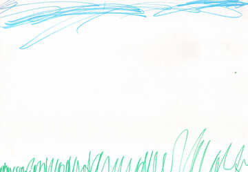 Sky and grass. Children drawing. №18682