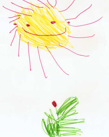 Tulip and sun.  Children drawing. №18663