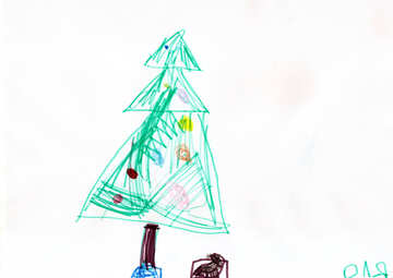Christmas tree with gifts. Children drawing. №18651