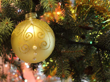 Beautiful Christmas picture with Christmas tree and ball №18359