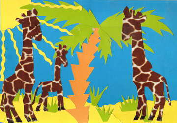 Applique giraffe under the palm trees №18671