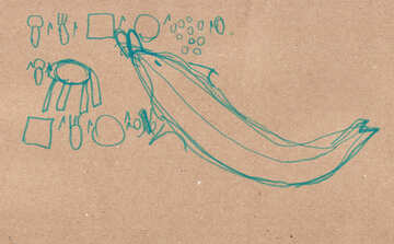 Dolphin eats.  Children drawing. №18718