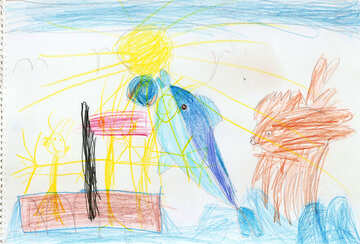 Dolphin and flying fish.  Children drawing. №18705