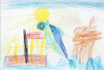 Delphin und fliegende Fische. Kinder zeichnen. №18705