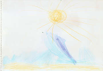 Dolphin jumping out of the water.  Children drawing. №18709
