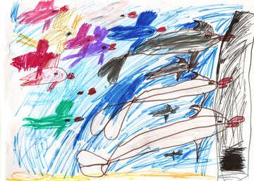 Рыбы и дельфины. Детский рисунок. №18700