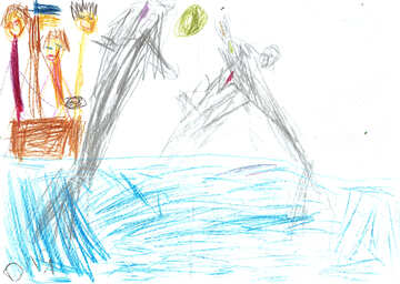 Dolphins in dolphinarium. Children drawing. №18686