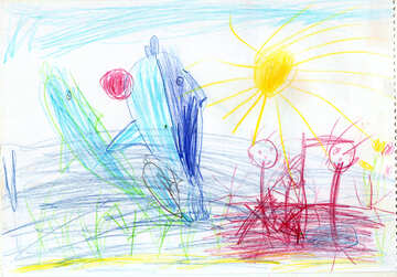 Dolphins and humans.  Children drawing. №18707