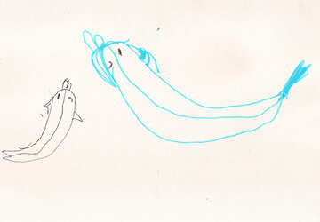 Dolphin with dolphin.  Children drawing. №18720