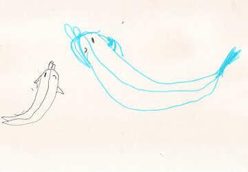 Dolphin mit Delphin.Kinder zeichnen. №18720